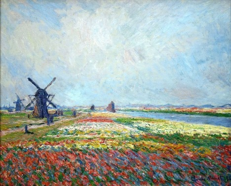 Tulip fields and windmills near Rijnsburg by Claude Monet